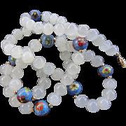 "Vintage Long 33"" Chinese Cloisonne Enamel Translucent Peking Glass Bead Necklace"