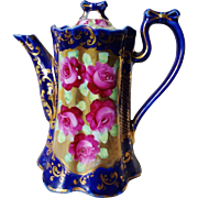 Antique 19th C. Nippon Chocolate Pot Red Roses Gold Gilding