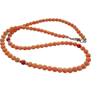 Vintage Salmon And Red Coral Bead Necklace