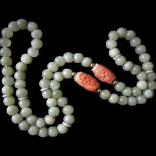 "Vintage 1970's Carved Coral Green Jade Necklace 36"" Opera Length"