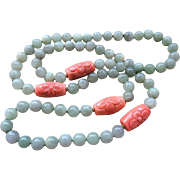 "Vintage Chinese Carved Coral Translucent Jadeite Necklace 35.5"" Length"