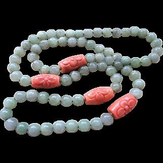 "Vintage Chinese Carved Angel Skin Coral Translucent Jadeite Necklace 35.5"" Length"