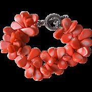 Vintage Salmon Coral Bracelet Sterling Silver Toggle Clasp