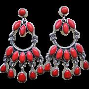 Vintage Mediterranean Ox Blood2 Red Coral Sterling Silver Earrings