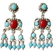 Vintage Ox Blood Red Coral Sleeping Beauty Turquoise Sterling Silver Chandelier Earrings Pierced Ears