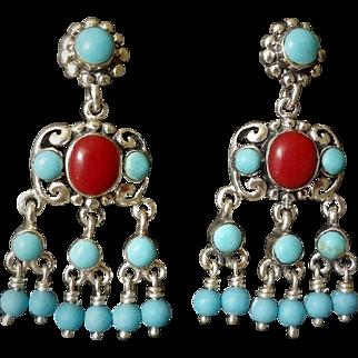 Vintage Ox Blood Red Coral Sleeping Beauty Turquoise Sterling Silver Chandelier Earrings Pierced Ears