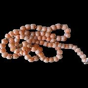 """Vintage 1970's 14k Angel Skin Coral Necklace 14k Filigree Clasp 24"""" Length"""