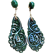 Hand Carved 14k Dark Green Jadeite Earrings Pierced Ears