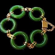 Vintage Chinese Green Jade Round Link Bracelet