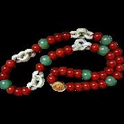 Rare Vintage Chinese Devil's Work Jadeite Carnelian Aventurine Necklace