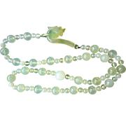 Vintage 1900's Chinese Translucent Icy Green Jadeite Dragon Clasp Necklace