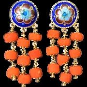 Vintage Chinese Export Coral Enamel Gold Vermeil Earrings Pierced Ears