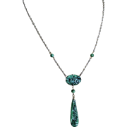 Chinese Art Deco 1020's Emerald Green Jade Sterling Silver Necklace