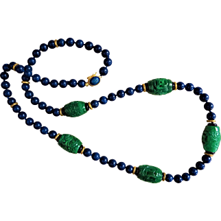 Vintage Chinese Imperial Green Jadeite Lapis Lazuli Necklace