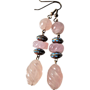 Vintage 1970's Chinese Cloisonne Carved Rose Quartz Earrings