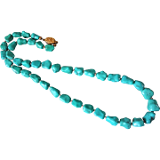 Vintage Chinese Export Turquoise Hand Carved Nugget Necklace Gold Vermeil Clasp