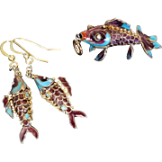 Vintage Chinese Export 1950's Gold Vermeil Enamel Articulated  Fish Pendant Matching Earrings