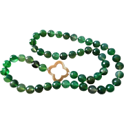 """Translucent Green Agate Necklace Hand Knotted 30"""" Length"""