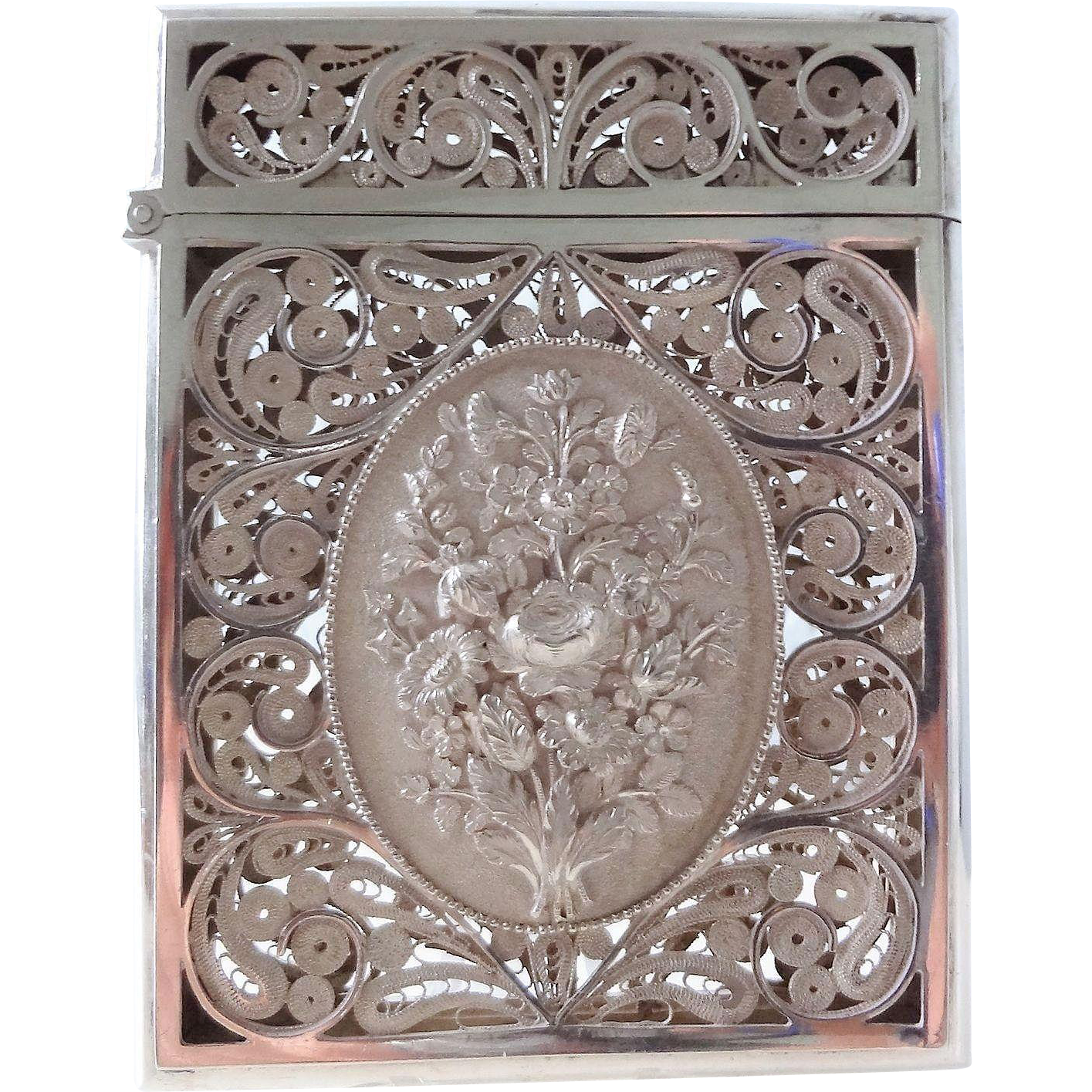 Antique Sterling Silver Filigree Calling Card Case : Fine Finds ...