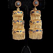 Antique Chinese Fine Silver Gilt Lantern Filigree Chandelier Earrings