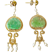Vintage Chinese Apple Green Jadeite Gold Vermeil Filigree Earrings With Cultured Pearls