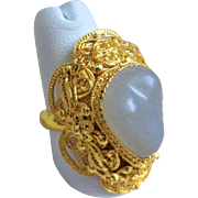 Vintage Chinese Art Deco Gold Gilt Sterling Silver Nephrite Jade Filigree Ring Adjustable 9.5 Size