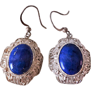 Art Deco Vintage Chinese Export Lapis Lazuli Sterling Silver Filigree Earrings