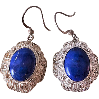 Art Deco Vintage Chinese Lapis Lazuli Sterling Silver Filigree Earrings