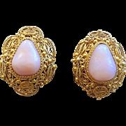 Chinese Export Gold Vermeil Sterling Silver Shou Filigree Peruvian Opal Earrings