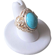 Chinese Art Deco Turquoise Sterling Silver Filigree Ring