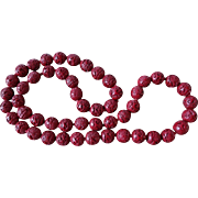 Vintage Chinese Hand Carved 15mm Large Dark Red Cinnabar Necklace