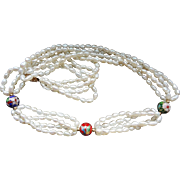 Vintage Chinese 14k Freshwater Baroque Pearls  Cloisonne Beads 4 Strand Necklace