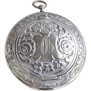 "Antique 1910 German Sterling Silver Repousse Pill Box Large 2"" Diameter"