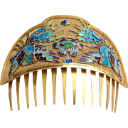 1850-1899 Antique Chinese Qing Export Sterling Silver Gold Gilt Mesh Enamel Hair Comb