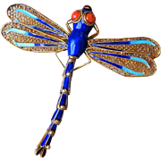 1940's Vintage Chinese Export Sterling Silver Gilt Enamel Reticulated Dragonfly Brooch Pin