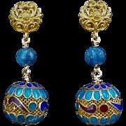 Vintage Chinese Export Gold Vermeil Gilt Mesh Enamel Sodalite Earrings