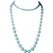 Vintage 1960's Chinese Export Aventurine Graduated Necklace