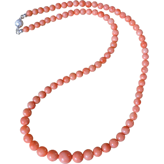 Vintage Peach Salmon Coral Necklace Sterling Clasp