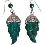 Antique Chinese Export Malachite Sterling Silver Bats Earrings Pierced Ears