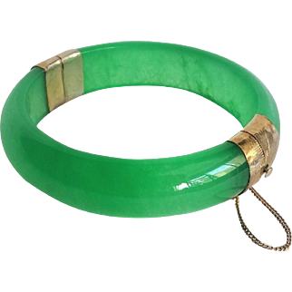 Vintage Translucent Apple Green Jadiete Bracelet
