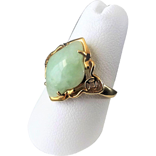 Vintage 1970's 14k Translucent Green Jadeite Ring Size 7 Made in Hong Kong