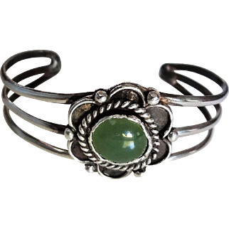 Vintage Green Nephrite Jade Sterling Silver Cuff Bracelet