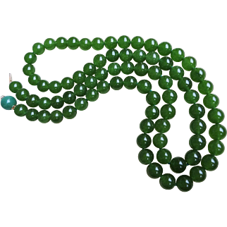 "Translucent 10 mm Green Nephrite Necklace 14k Clasp 35 "" Length"