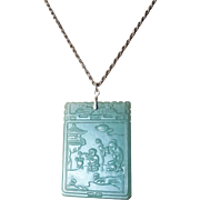Chinese Hand Carved Two Sided Green Nephrite Jade Poem Pendant Sterling Bail