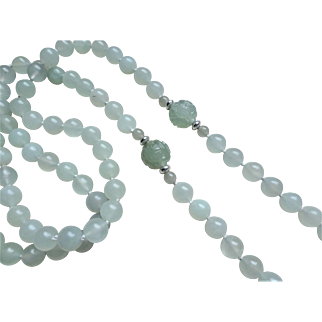 "Vintage Chinese 1970's Hand Carved Shou Green Jade Necklace 32"" Length"