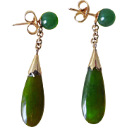 Vintage 1970's Chinese Green Jade Teardrop Earrings
