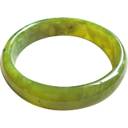 Vintage Chinese Semi Translucent Olive Green Hand Carved Jade Bangle