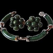 Vintage Green Jade Earrings Green Jade Bracelet Set