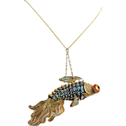 Antique 1900-1920 Large Chinese Export Articulated Vermeil Cloisonne Enamel Goldfish Pendant