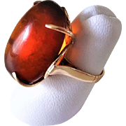 Vintage 14k Rose Gold Russian Baltic Amber Ring Size 6